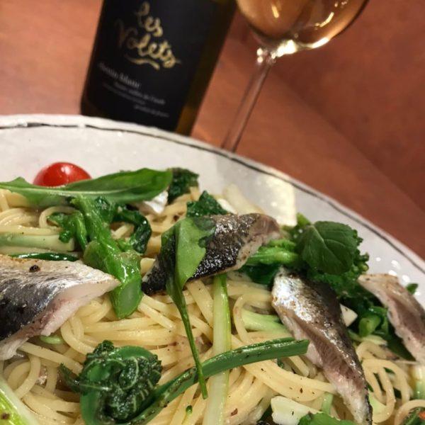春野菜とオイルサーディンのスパゲッティーニ